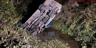 Düzce'de minibüs köprüden kanala uçtu