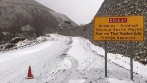 Arvin-Ardanuç-Ardahan karayolu kar nedeniyle ulaşıma kapandı