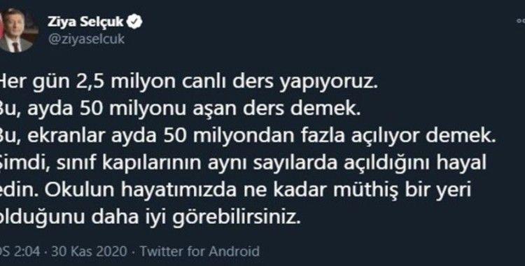 """Milli Eğitim Bakanı Selçuk: """"Her gün 2 buçuk milyon canlı ders yapıyoruz"""""""