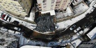 Kağıthane'de enkaz havadan görüntülendi