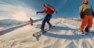 Tunceli'nin dağlarında kayak keyfi