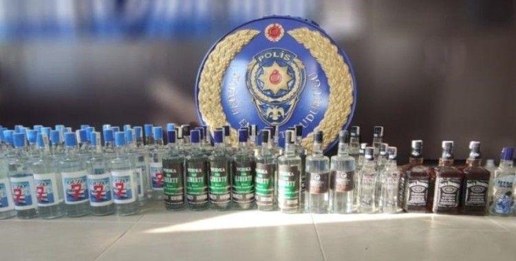 68 adet kaçak içki bodrum katta ele geçirildi