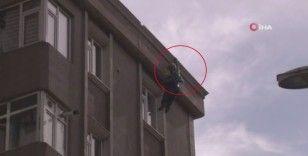 Yangında 6. kattan atlayan yaşlı adam çatıya tamirat için çıkmış