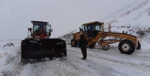 Kar yağışı altında yayla yollarını açmayı sürdürdüler