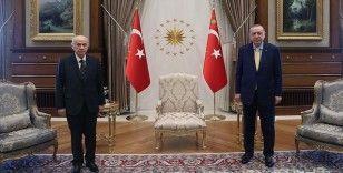 Cumhurbaşkanı Erdoğan, MHP Genel Başkanı Bahçeli'yi Cumhurbaşkanlığı Çankaya Köşkü'nde kabul etti