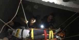 Merdiven boşluğuna düşen şahıs için ekipler seferber oldu