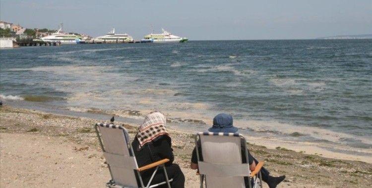 Marmara Denizi'ndeki müsilaj Çanakkale ve Bursa kıyılarında rüzgarın etkisiyle yüzeyde görülüyor