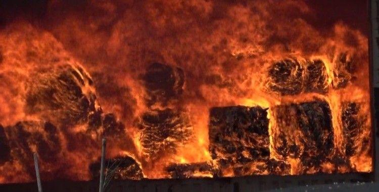 Plastik geri dönüşüm fabrikasındaki yangın sürüyor