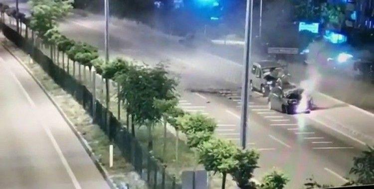 Polis memurunun şehit olduğu kaza MOBESE kamerasına yansıdı