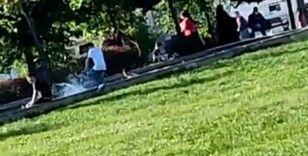 Arnavutköy'de çocukların tehlikeli süs havuzu eğlencesi kamerada