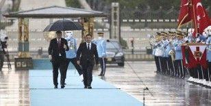 Cumhurbaşkanı Erdoğan, Kırgızistan Cumhurbaşkanı Caparov'u resmi törenle karşıladı