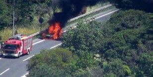 15 Temmuz Şehitler Köprüsü Avrupa yakası istikametinde yangın