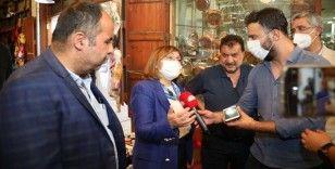 Gaziantep Büyükşehir Belediye Başkanı Fatma Şahin, tarihi çarşılarda yürütülen çalışmaları inceledi