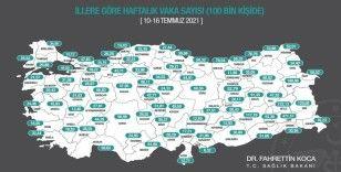 Bakan Koca, illere göre haftalık vaka sayısı haritasını paylaştı