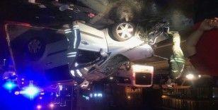 Basın Ekpres Yolu'nda kontrolden çıkan araç takla attı: 1 yaralı