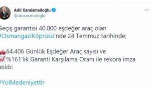 Osmangazi Köprüsü geçiş rekoru kırdı