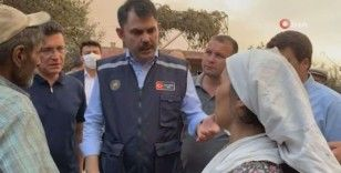 Bakan Kurum yangın bölgesinde: 'Hızlı bir şekilde inşa edeceğiz'