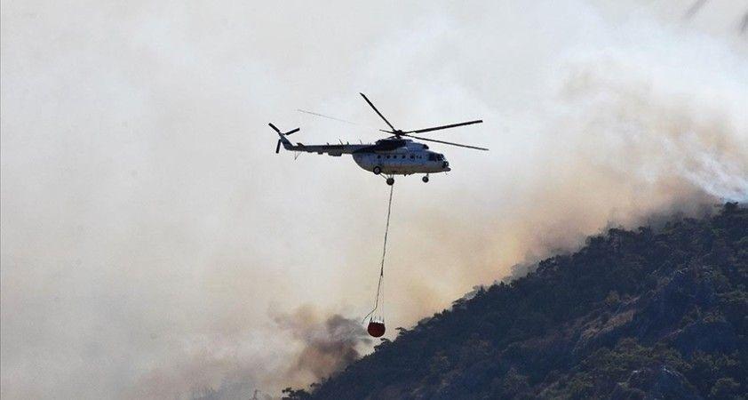 Milas'ta ormanlık alanda çıkan yangın kontrol altına alınmaya çalışılıyor