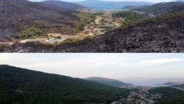 Marmaris'in yangın öncesi ve sonrası havadan görüntülendi