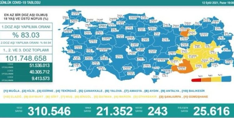 Türkiye'de son 24 saatte 243 can kaybı, 21 bin 352 yeni vaka
