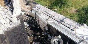 Edirne'de tır şarampole yuvarlandı: 1 yaralı
