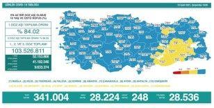 Türkiye'de son 24 saatte 248 can kaybı yaşandı, 28 bin 224 yeni vaka tespit edildi