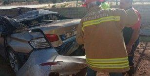 Mardin'de takla atan otomobil alev aldı: 1 yaralı